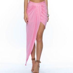 Dresses & Skirts - Pink Asymmetrical Side-Slit Maxi Skirt